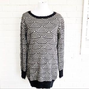 ASOS Katsumi long soft fuzzy geometric sweater